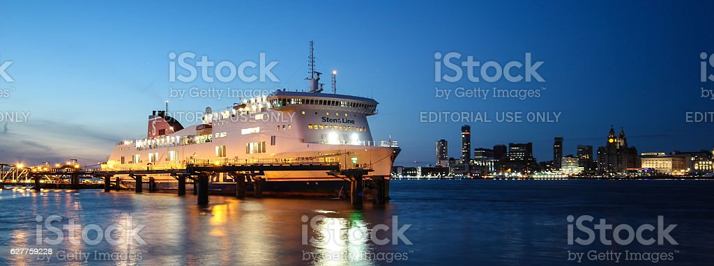 Stenaline Ferry Loading on the River Mersey stock photo