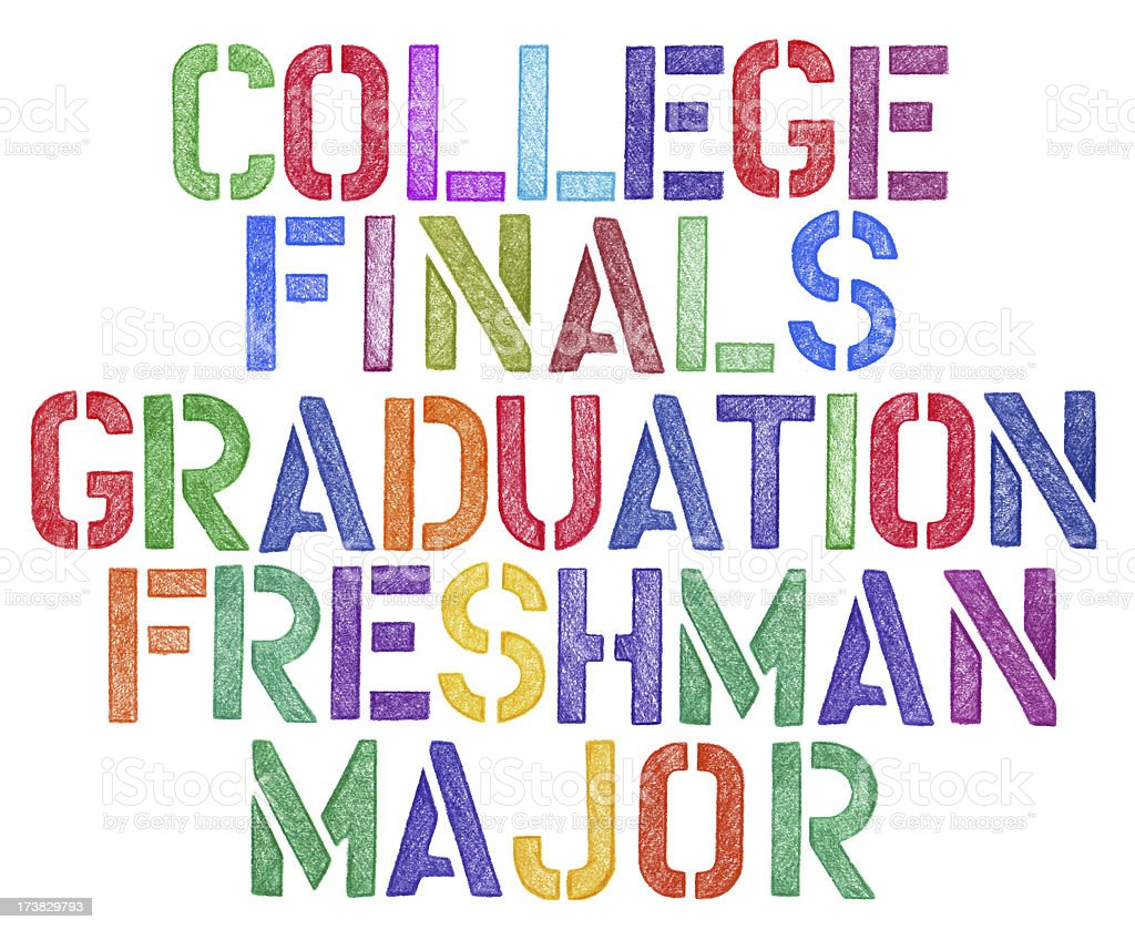 stencil drawing of college theme words royalty-free stock photo