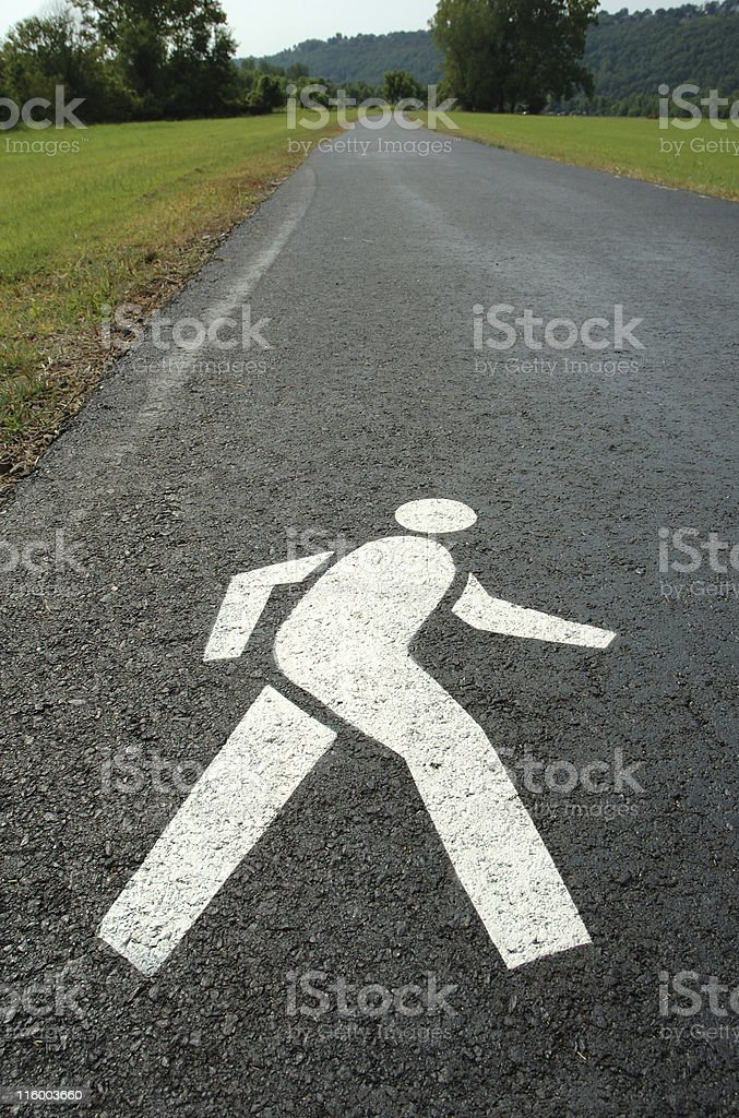 Stenciled Walker on Path royalty-free stock photo