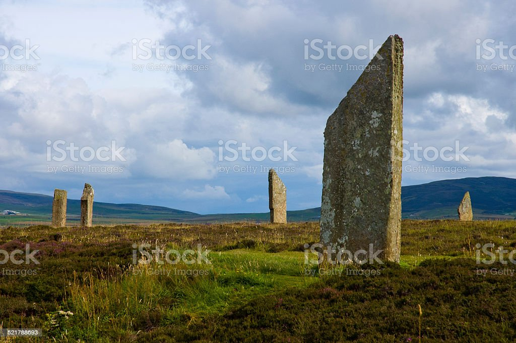 Stenness stone circle view in Orkney island, Scotland stock photo