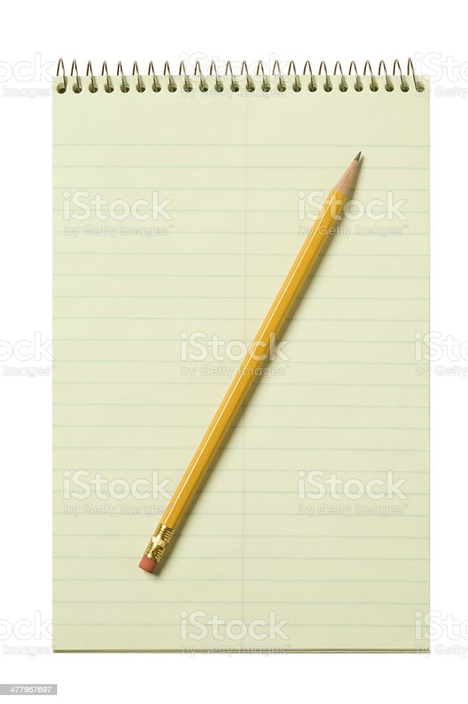 Stenographer's pad with a yellow pencil stock photo
