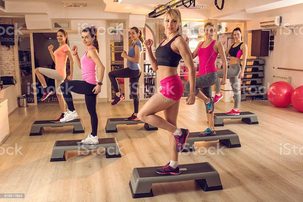 Step aerobics in a health club! stock photo