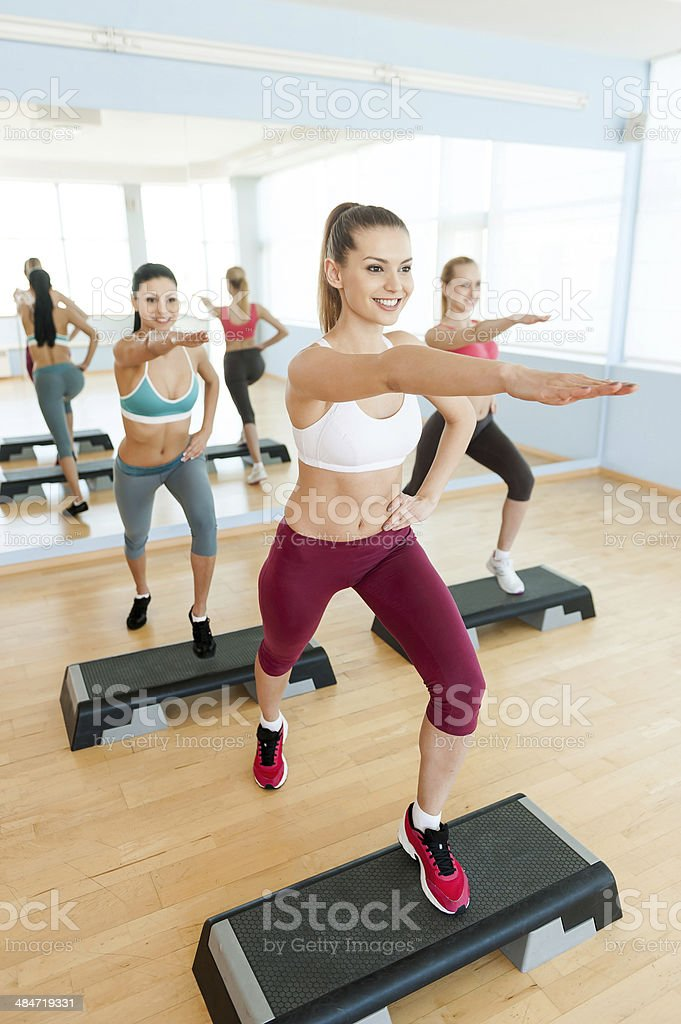 Step aerobics. stock photo