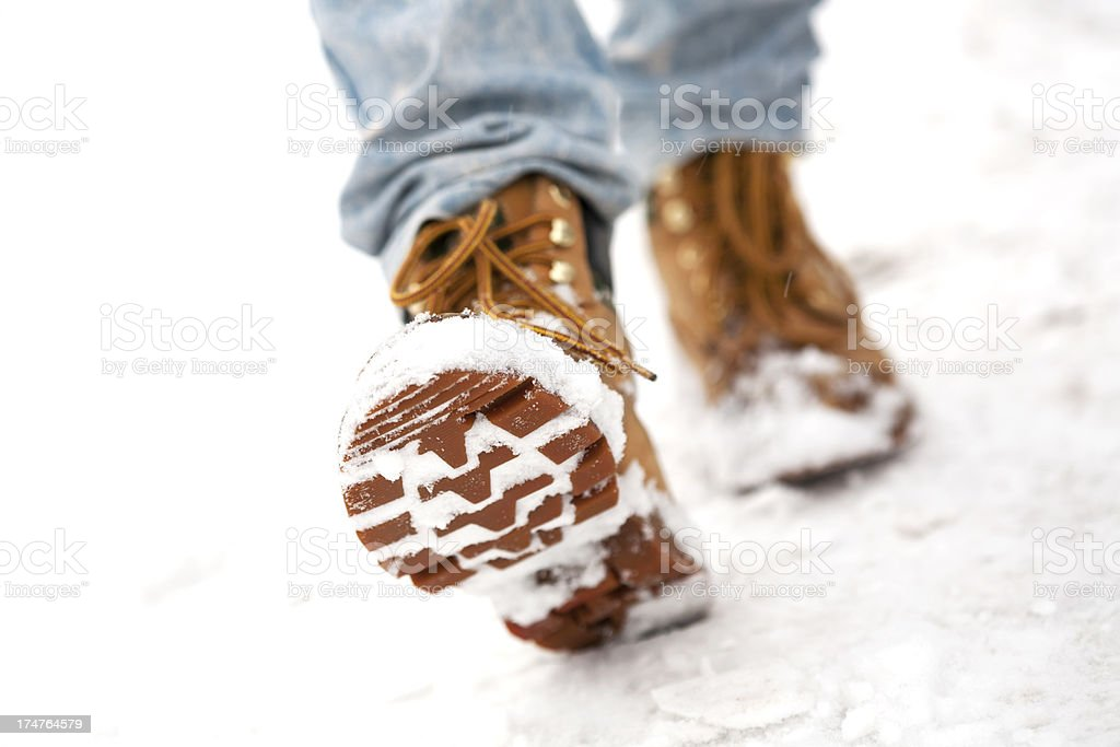 Step in the snow stock photo