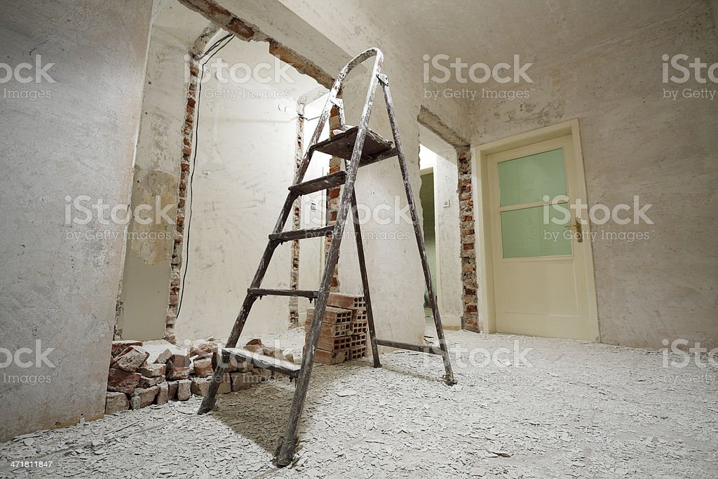Step ladder on construction site royalty-free stock photo