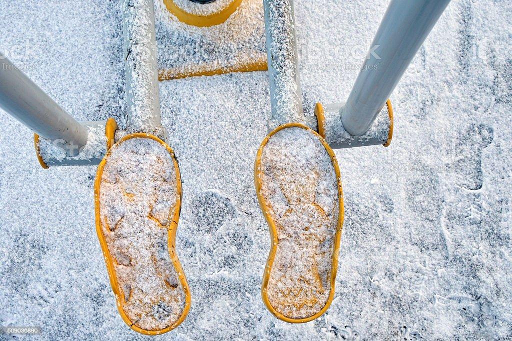 Step Machine In Winter stock photo