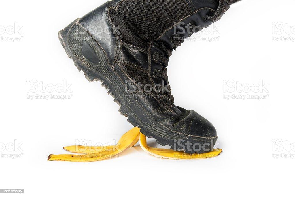 step on a banana peel stock photo