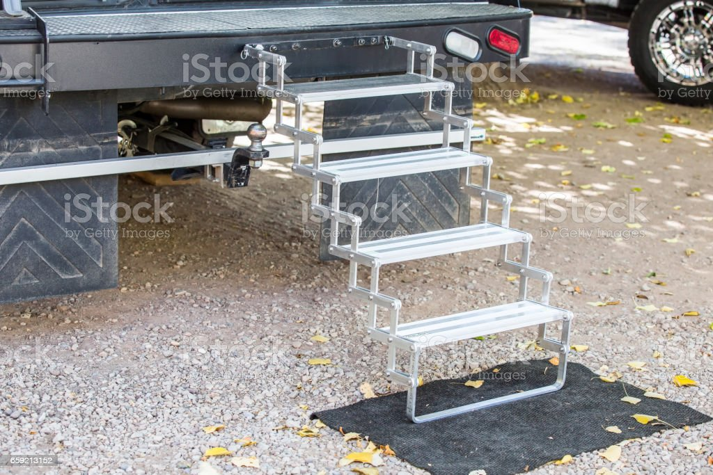 step on rv camping stock photo