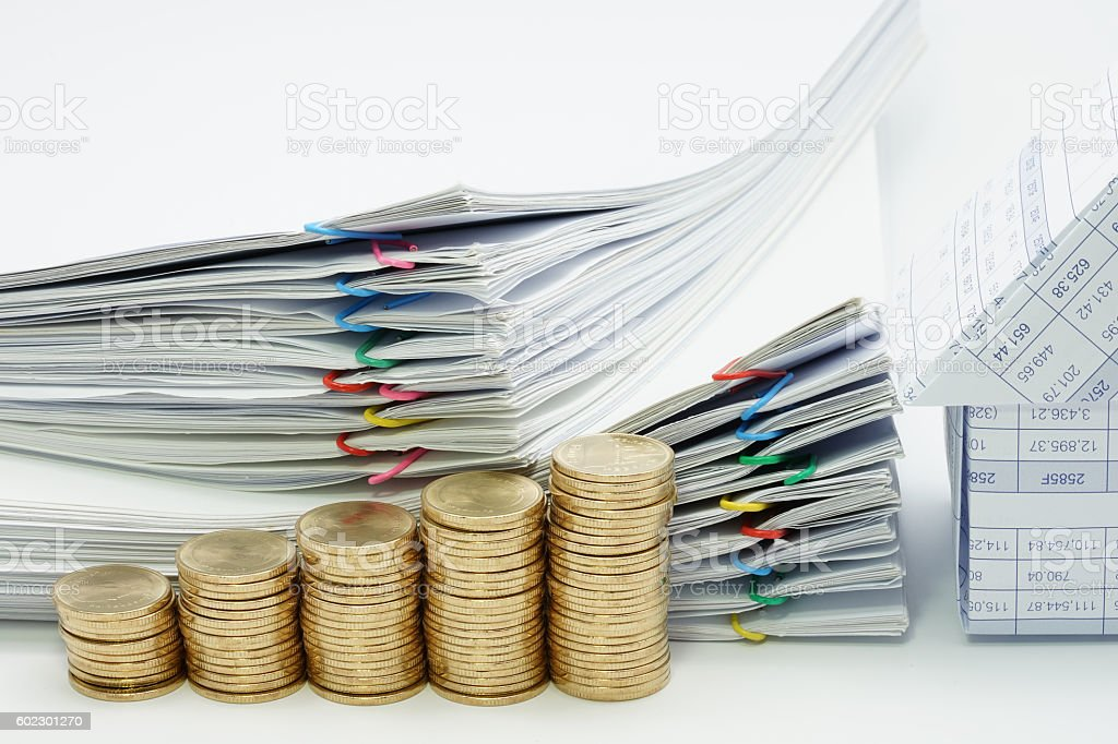 Step pile of gold coins and house with pile document royalty-free stock photo
