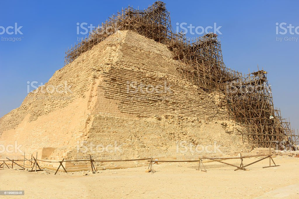 Step Pyramid of Djoser under preservation stock photo