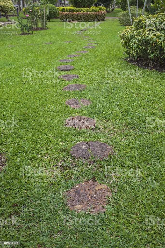 Step Stone Pathway in a Lush Green Park royalty-free stock photo