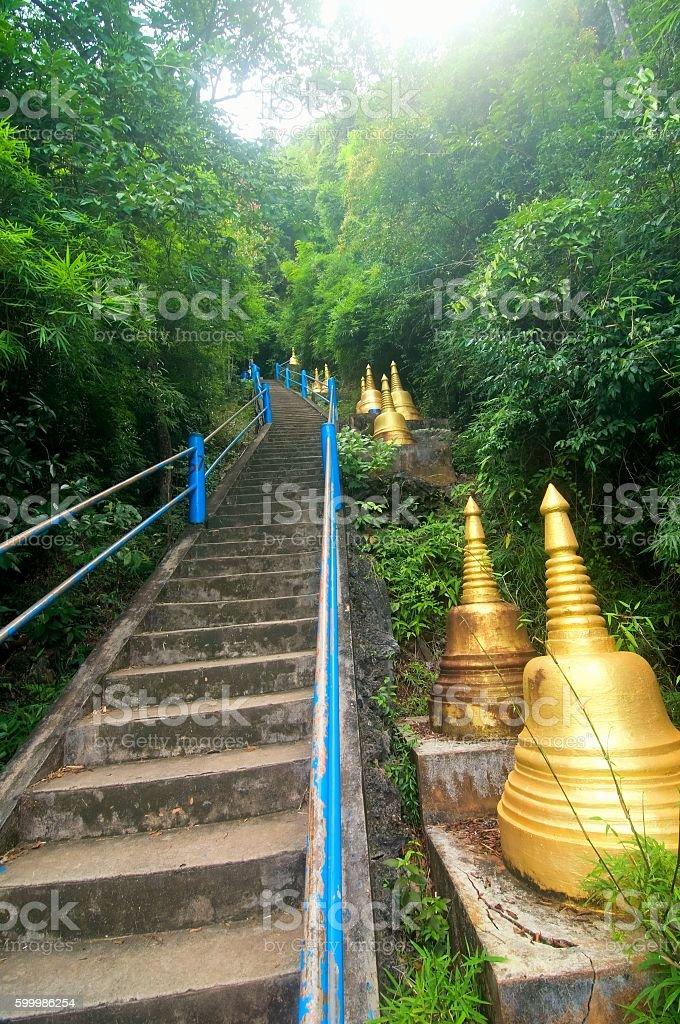 Step to Buddha, Wat Tham Seua (Tiger Cave), Krabi, Thailand stock photo