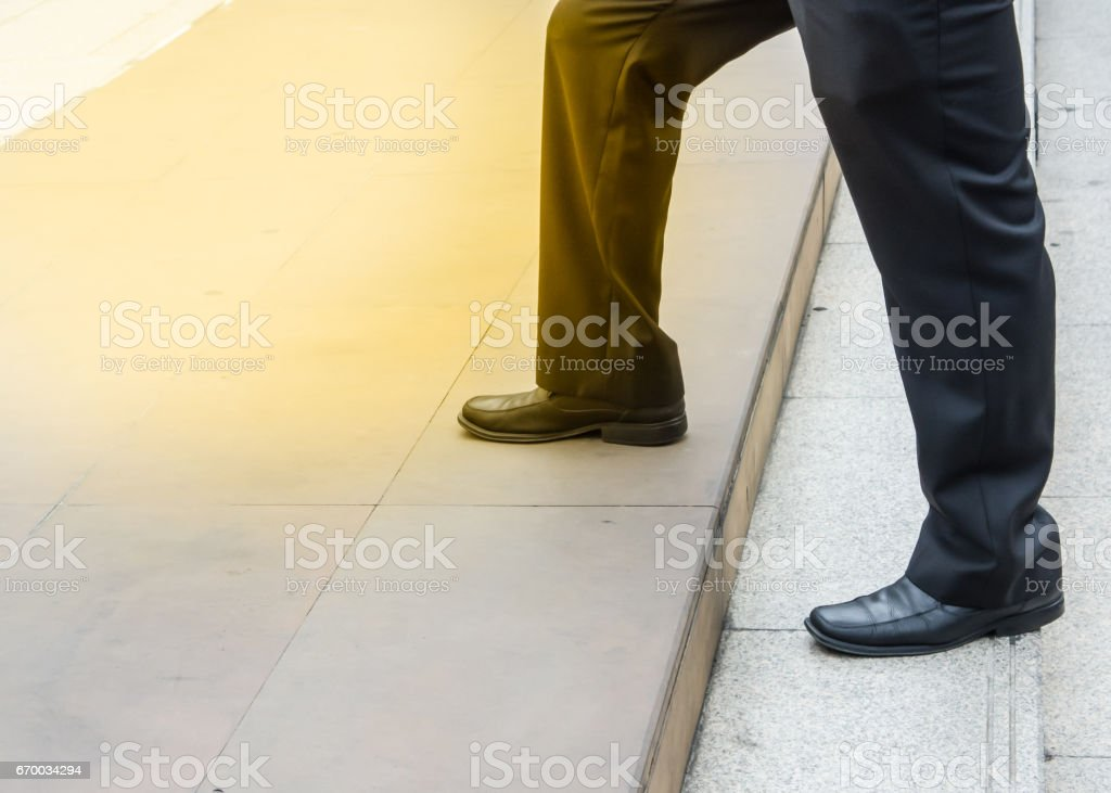 Step up on the steps stock photo