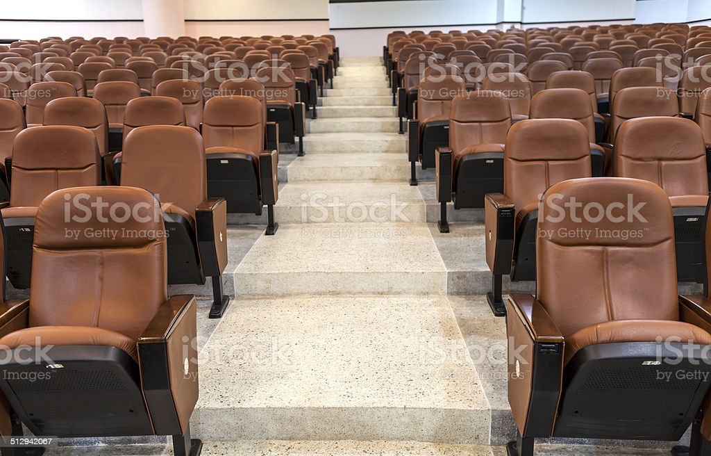 step walk way between seats in cinema, theater, conference room stock photo