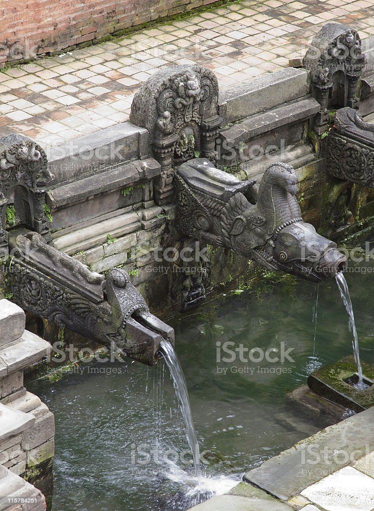 Step well with dragon spouts Patan Nepal stock photo