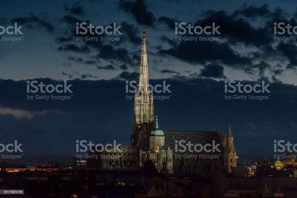 Stephansdom (St. Stephen's Cathedral) Vienna City at Night, Austria stock photo
