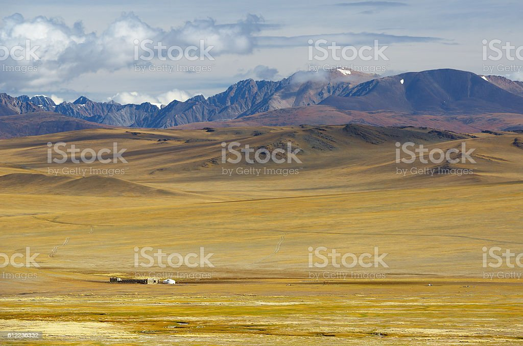 Steppe landscape with a nomad's camp stock photo