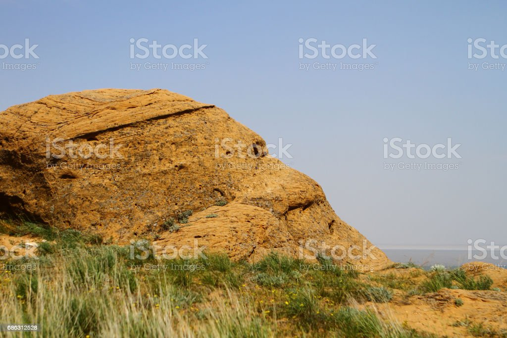 Steppe small rocks of yellow stone stock photo