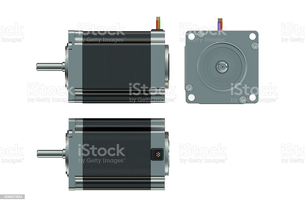 Stepper motor top side and front views stock photo