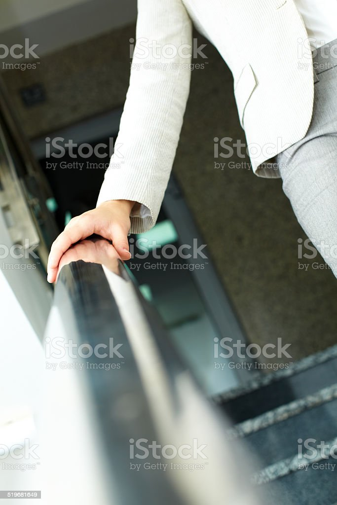 Stepping down stock photo