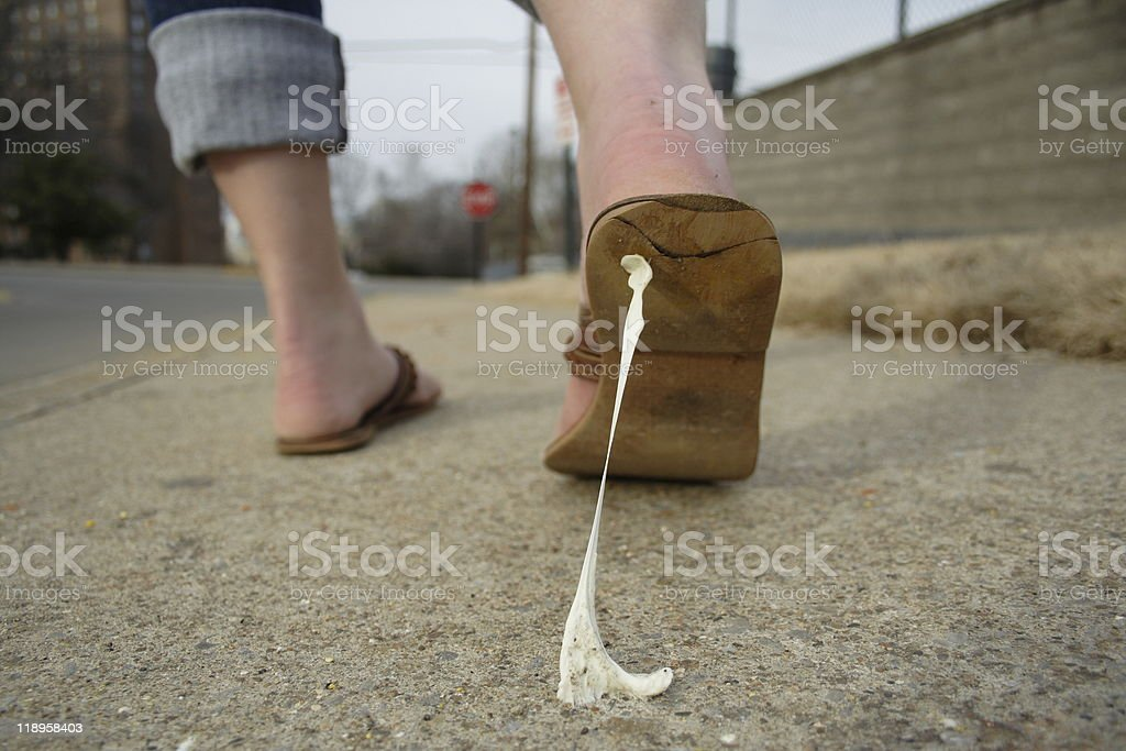 Stepping in Gum royalty-free stock photo