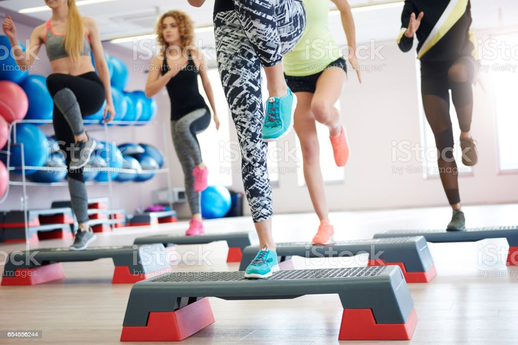 Stepping is great exercise for your leg parts stock photo