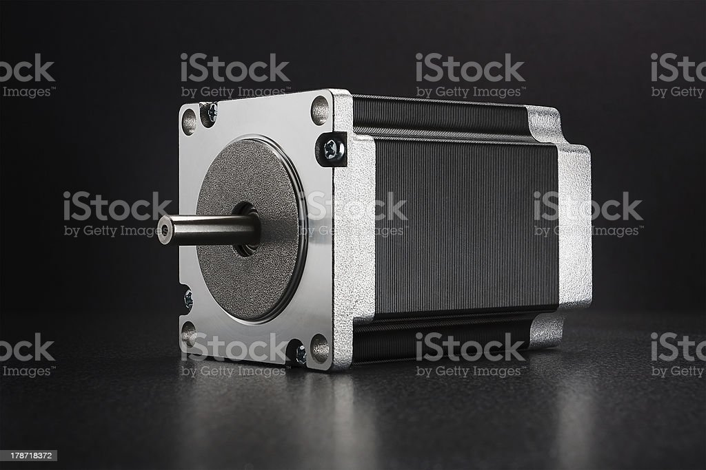 stepping motor of CNC linear axis drive stock photo