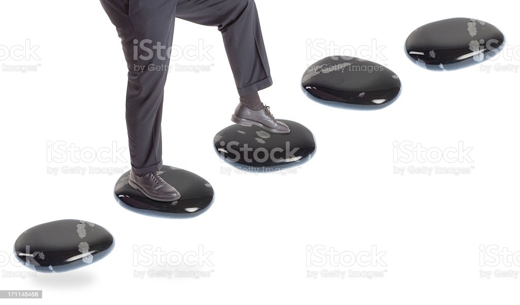 stepping stone concepts: going up stock photo