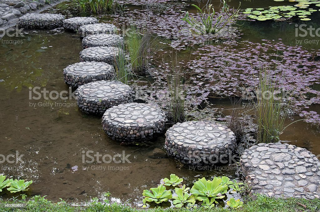 stepping stone in garden stock photo