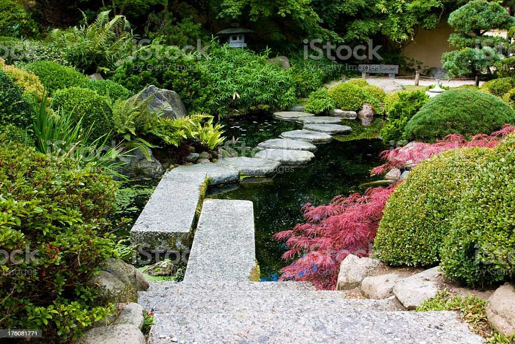 Stepping stone path along a tranquil pond in Japanese garden royalty-free stock photo