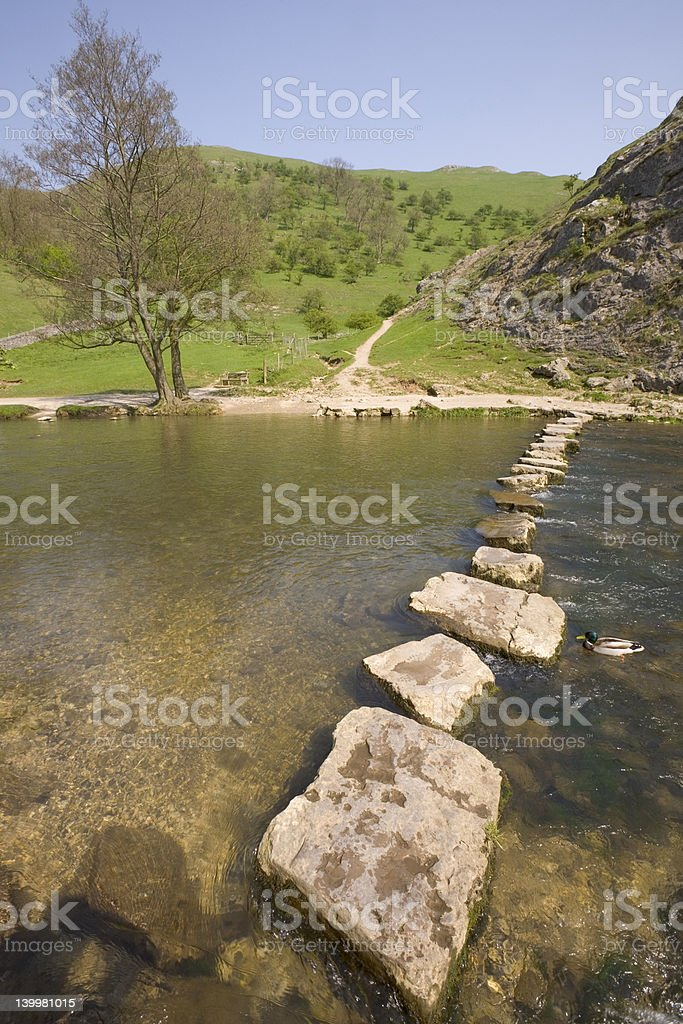 stepping stones across river stock photo