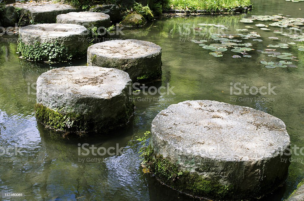 Stepping Stones at a Japanese Zen garden stock photo