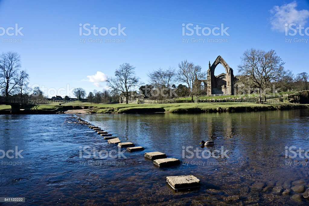 Stepping stones at Bolton Abbey stock photo