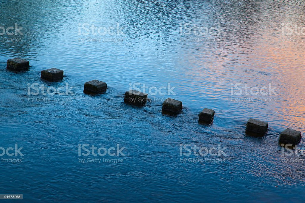 Stepping Stones At Sunset stock photo