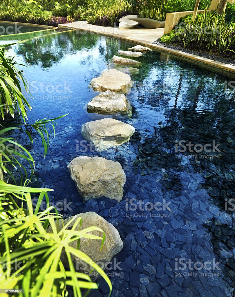 Stepping stones in a pond royalty-free stock photo