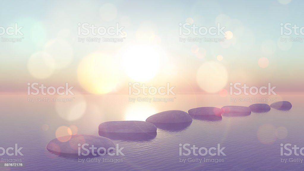 3D stepping stones in ocean with vintage effect stock photo