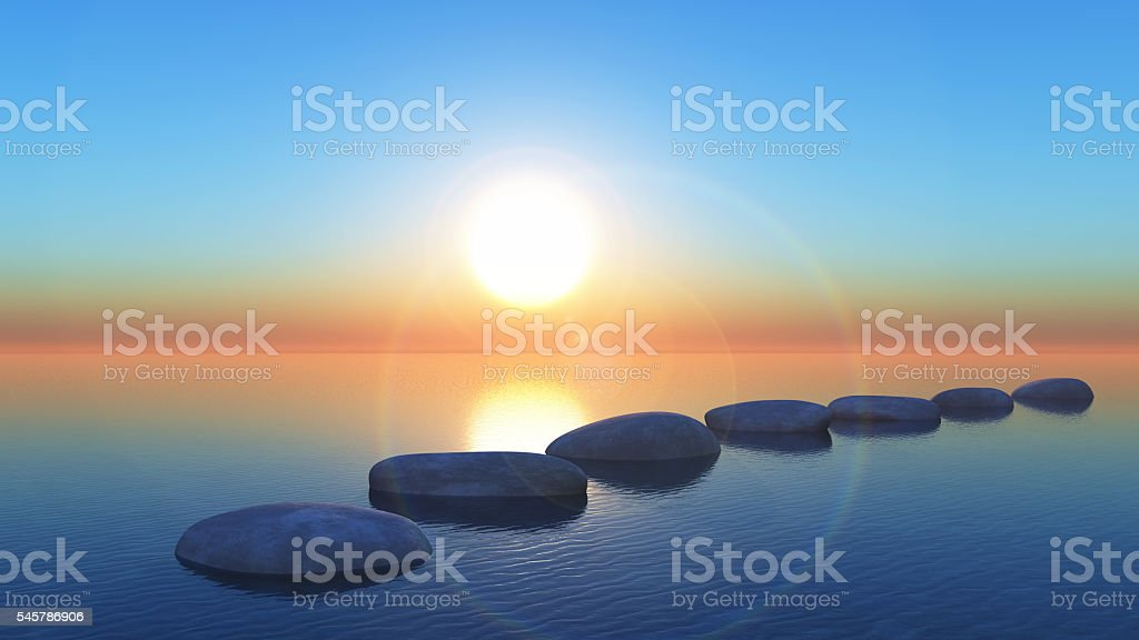 3D stepping stones in the ocean at sunset stock photo