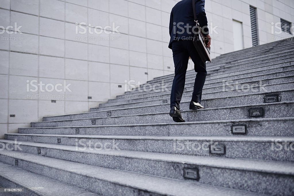 Stepping up stock photo