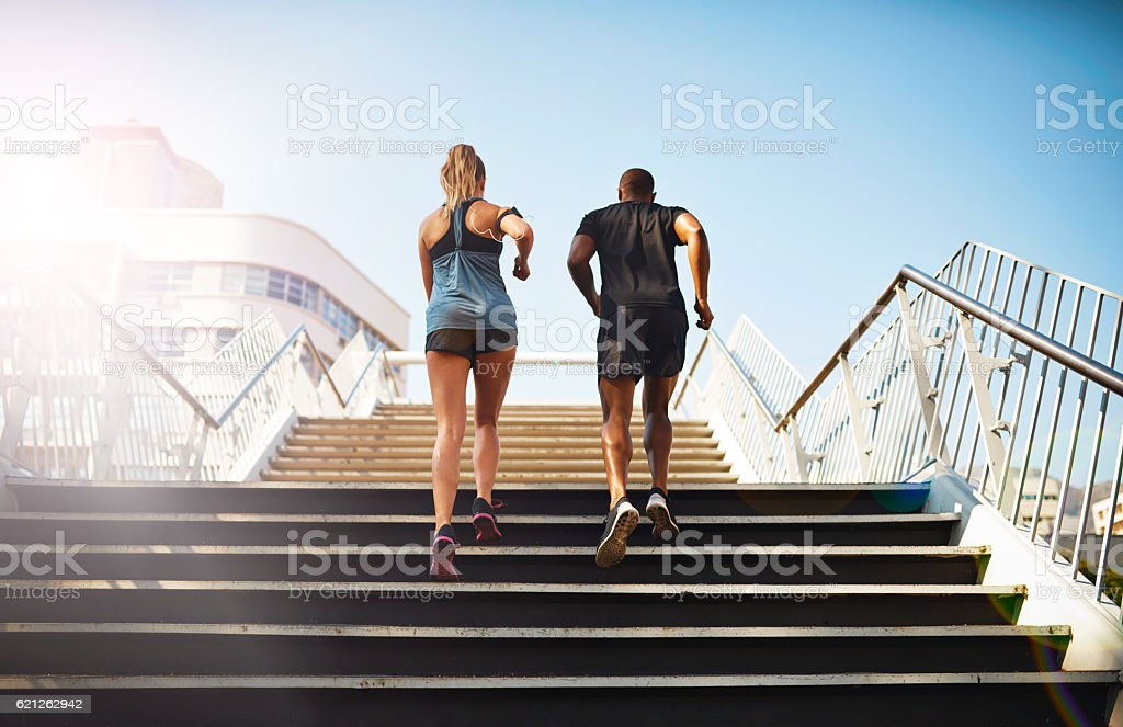 Stepping up their fitness stock photo