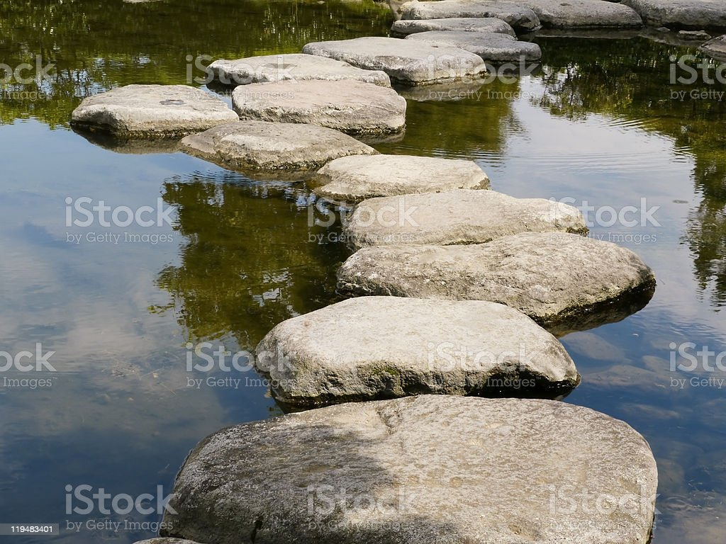 Stepping-stones on pond stock photo