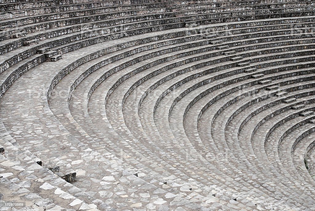 steps and bleachers at ancient theatre stock photo