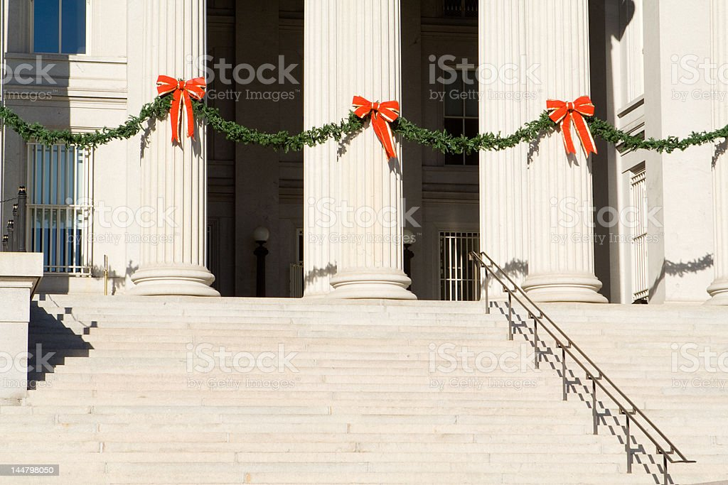 Steps and Columns Washington, DC Treasury Building Decorated for Christmas royalty-free stock photo