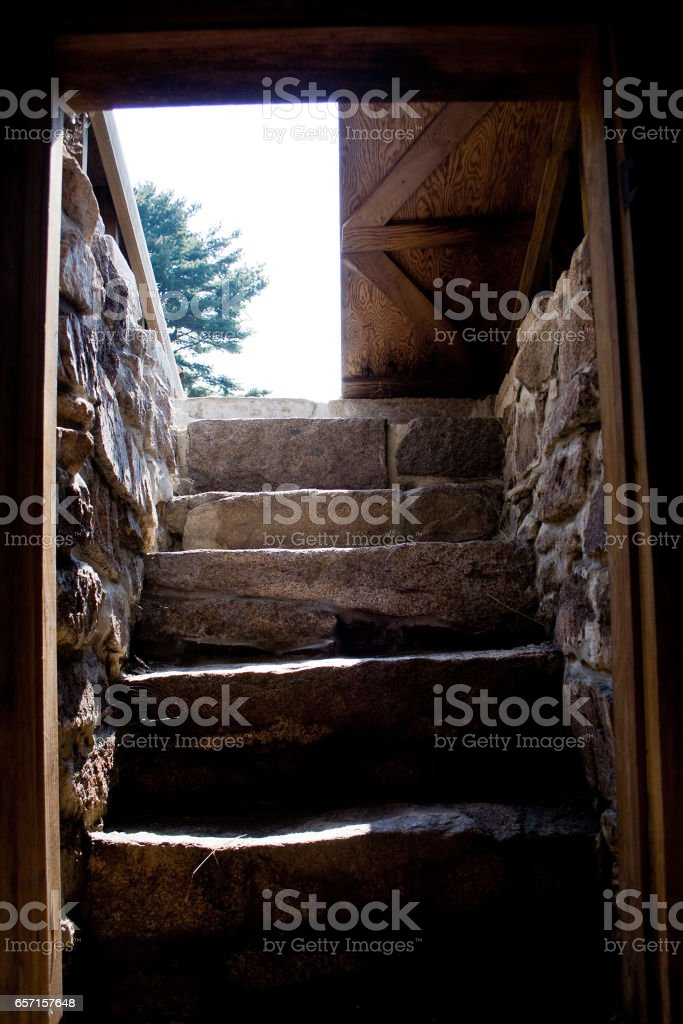 Steps and Entrance to Traditional Root Cellar stock photo