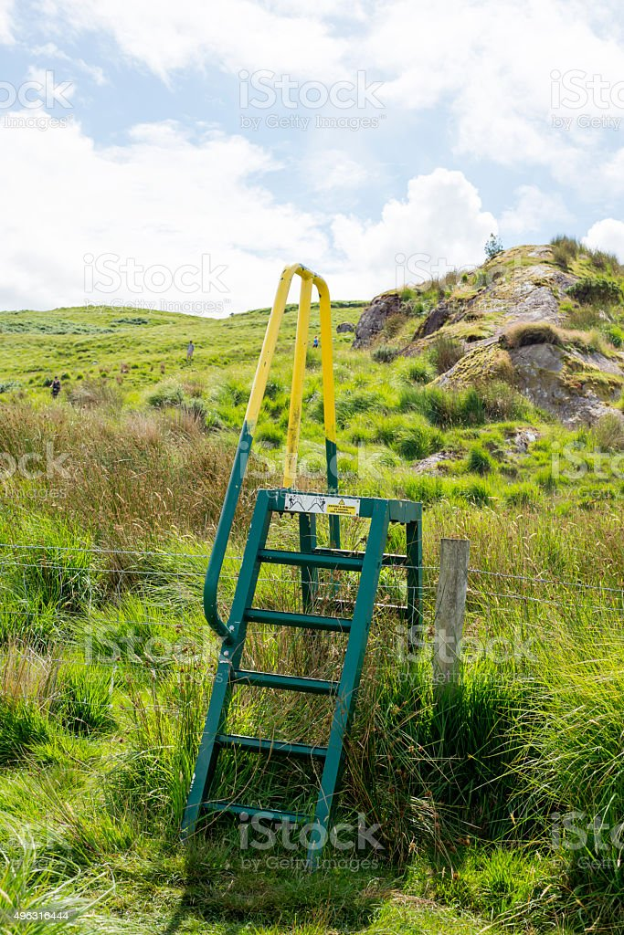 steps and handrail over a ditch for walkers stock photo