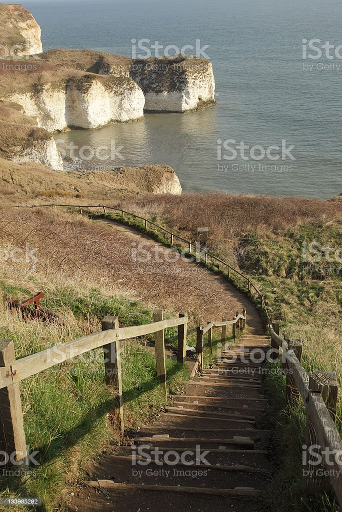 Steps down to Silex Bay stock photo