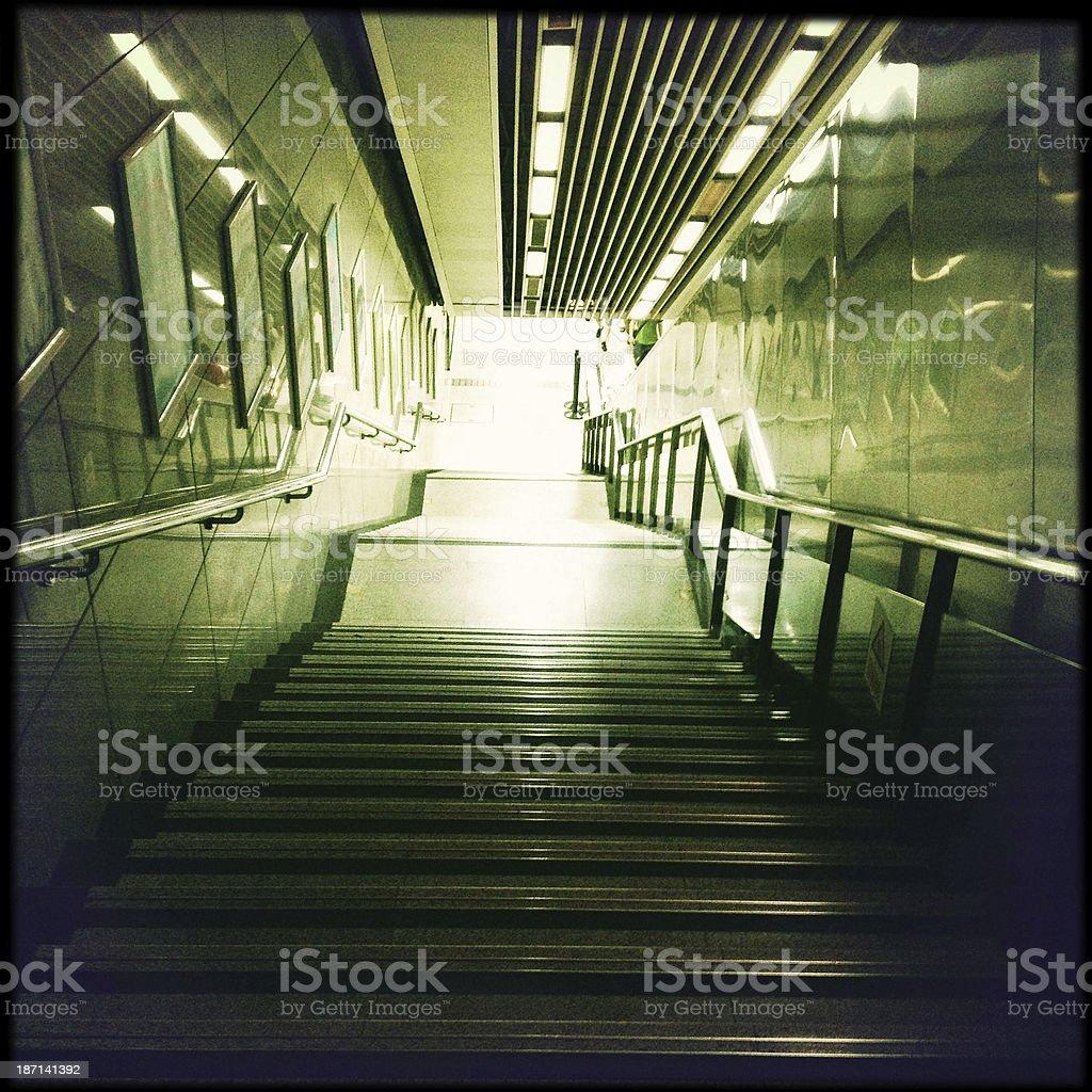 Steps, escalator - subway station royalty-free stock photo