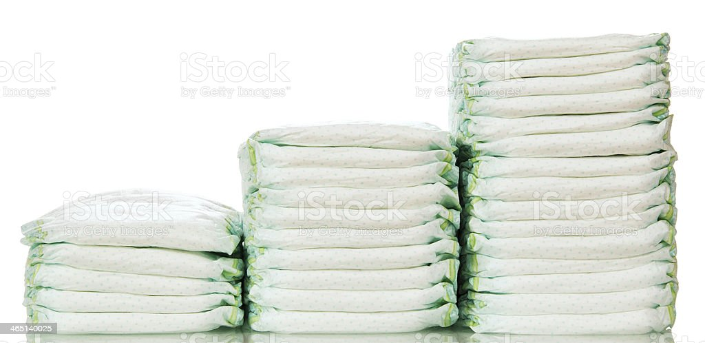 steps from different  stacks of diapers stock photo