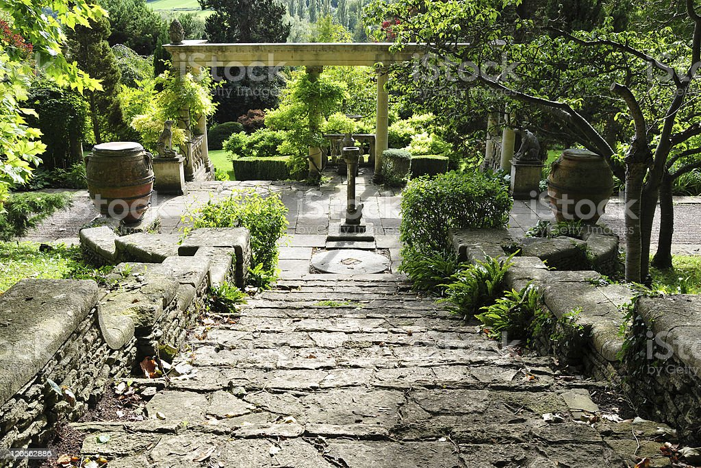 Steps in a Beautiful Garden royalty-free stock photo