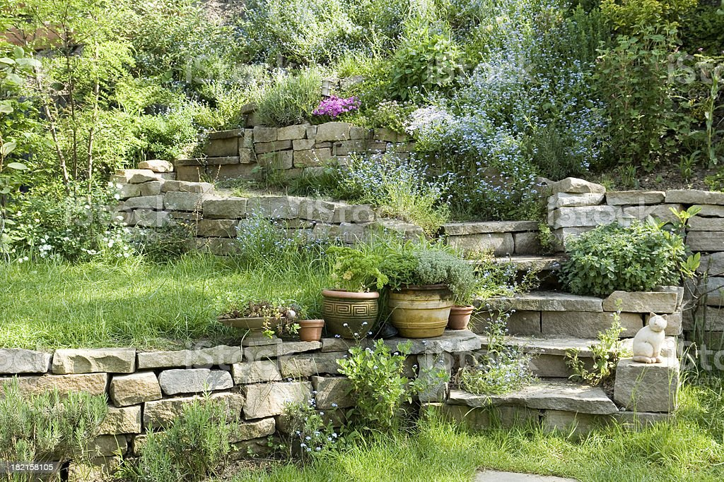 Steps in a Romantic Country Garden stock photo