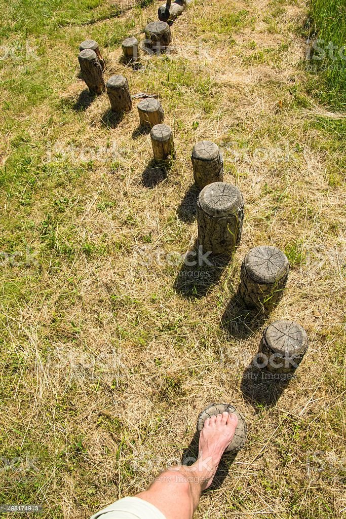 Steps in a wooden balance course royalty-free stock photo